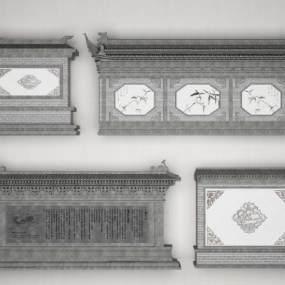 传统中式庭院影壁照壁组合3D模型【ID:349216475】