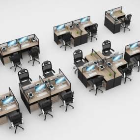 现代办公桌椅办公卡位组合3D模型【ID:931312108】