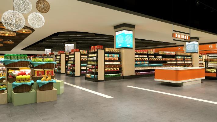 现代超市3D模型【ID:143282172】