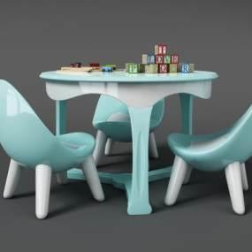 现代儿童桌椅3D模型【ID:931079029】