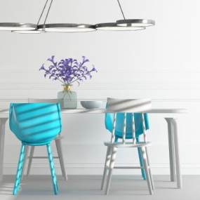 北欧餐桌椅 3D模型【ID:842351815】