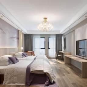 新中式酒店客房卧室3D模型【ID:743407358】