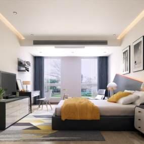 现代酒店客房3D模型【ID:731962303】