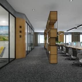 工業風格LOFT開敞辦公室3D模型【ID:947984054】
