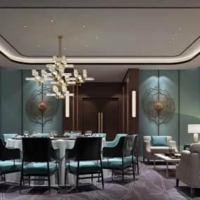 新中式餐厅包房3D模型【ID:634473847】