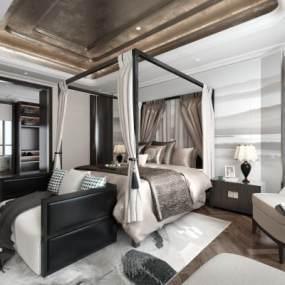 现代卧室3D模型【ID:533090222】