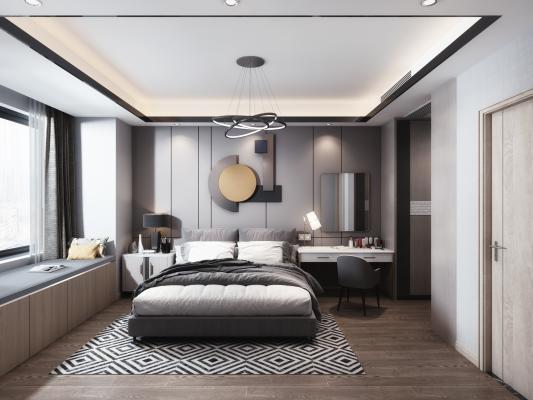 现代卧室3D模型【ID:550663212】