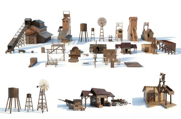 美式简约老式矿区设施3D模型【ID:249136332】