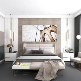 现代卧室3D模型【ID:536208215】