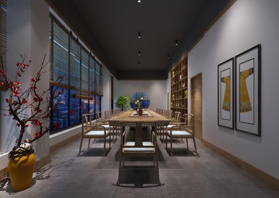 新中式风格茶馆3D模型【ID:641994651】