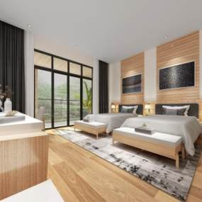 现代酒店客房3D模型【ID:749004333】