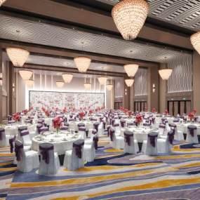 现代宴会厅餐厅3D模型【ID:735940223】