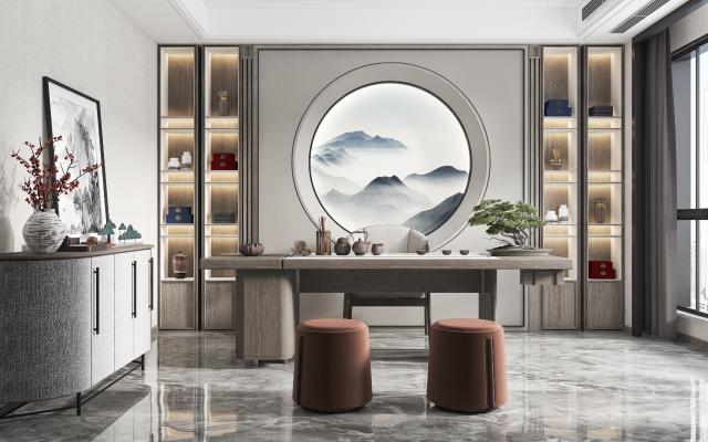 新中式茶室3D模型【ID:653265135】