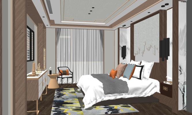 新中式臥室SU模型【ID:245721310】