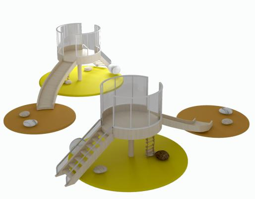 现代儿童滑滑梯3D模型【ID:442683134】