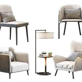 北欧休闲单人沙发单椅3D模型【ID:634525450】