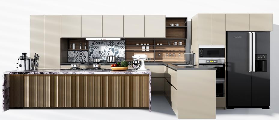 現代廚房廚柜3D模型【ID:146535722】