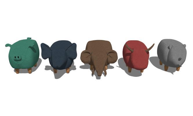 现代儿童动物矮凳组合SU模型【ID:947886422】