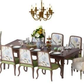 美式简约餐桌椅组合3D模型【ID:835943863】