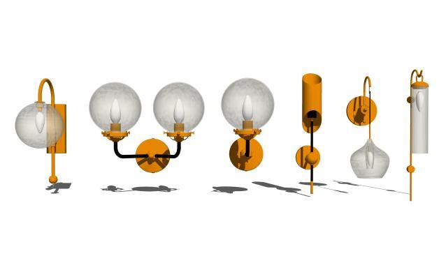 現代壁燈組合SU模型【ID:348378961】