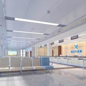 现代海关办公楼办事大厅 3D模型【ID:941509084】