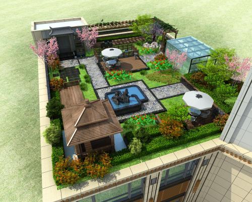 新中式屋頂花園3D模型【ID:144044302】