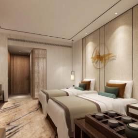 新中式風格酒店客房3D模型【ID:743567356】