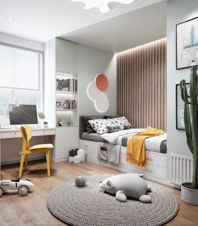 现代风格榻榻米儿童房3D模型【ID:552333746】