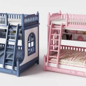 现代儿童高低床组合3D模型【ID:832118840】