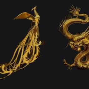 新中式龙3D模型【ID:344116121】
