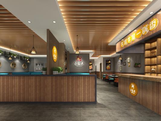火鍋店中餐廳3D模型【ID:640657598】