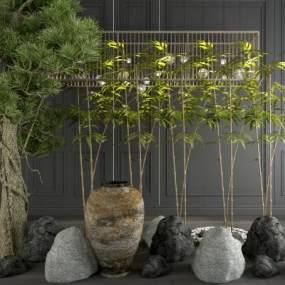 新中式竹子石头树陶罐吊灯组合 3D模型【ID:241408859】