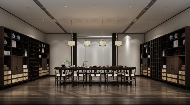 新中式茶室3D模型【ID:641872695】