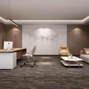 現代總經理辦公室3D模型【ID:943707043】