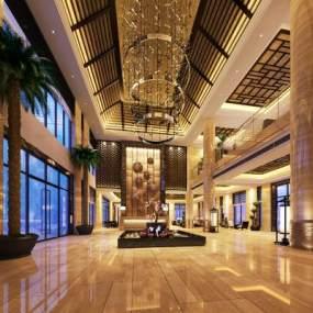 中式酒店大厅3D模型【ID:733097044】
