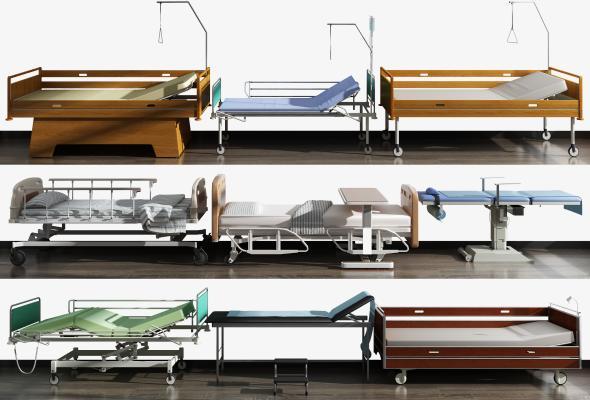 現代醫療器械病床組合3D模型【ID:434955377】