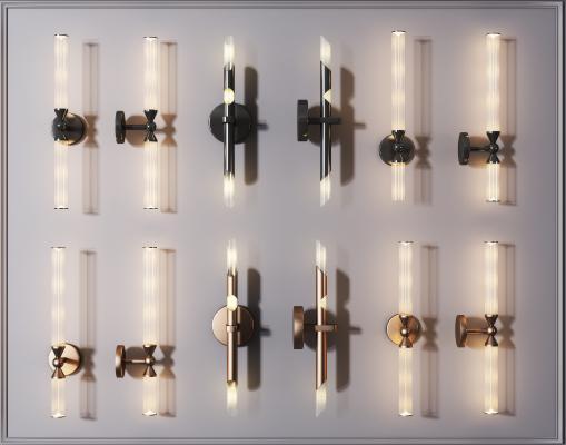 现代轻奢壁灯组合 金属壁灯 水晶壁灯