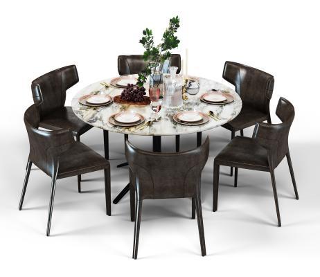 现代餐桌椅组合3D模型【ID:843610854】