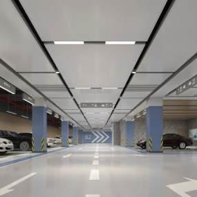 現代地下停車場3D模型【ID:946915911】