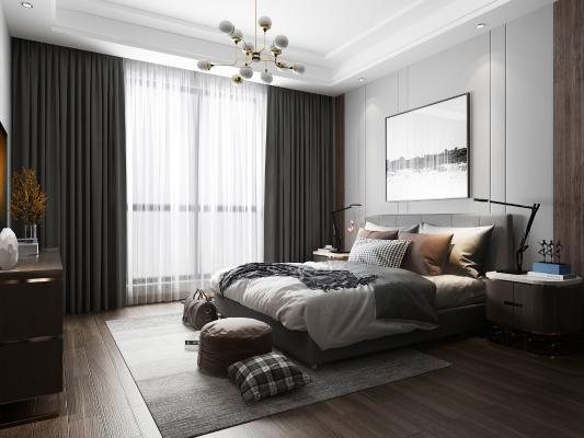 现代卧室3D模型【ID:542289200】