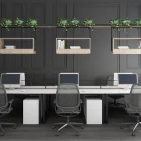 现代简约实木多人办公桌椅办公桌椅组合3D模型【ID:942068148】