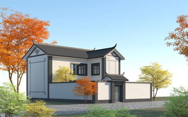 中式别墅带庭院3D模型【ID:146146351】