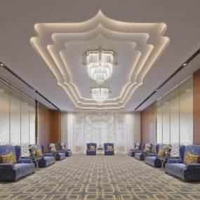 歐式簡約酒店休閑區3D模型【ID:634421508】