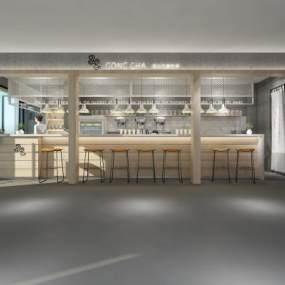現代奶茶店3D模型【ID:634786432】