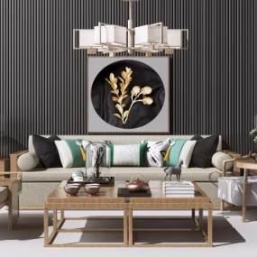 新中式实木沙发茶几组合3D模型【ID:653299731】