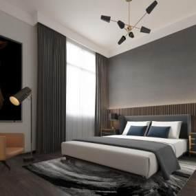 現代簡約臥室3D模型【ID:542808274】