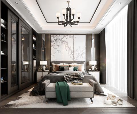 新中式卧室3D模型【ID:550775280】