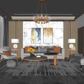 现代客厅 沙发 茶几 吊灯 挂画 摆件【ID:949120811】