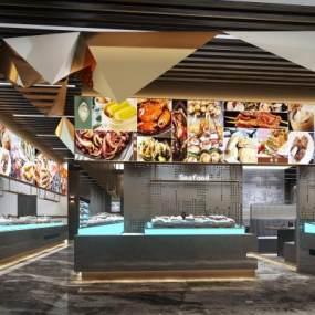 現代海鮮店3D模型【ID:546343137】