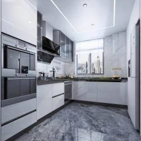 现代白色烤漆厨房橱柜3D模型【ID:541434324】